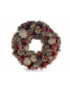 Coronita cu conuri de pin stralucitoare, fructe de padure si mere artificiale