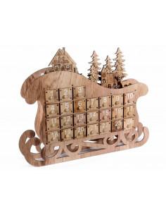 Sanie de lemn cu calendar, lumini si sertare