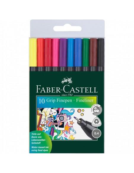 Liner 0.4 mm Grip Set Faber-Castell Cutie 10 buc