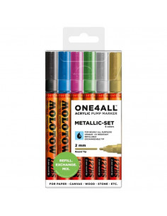 Marker acrilic Molotow ONE4ALL™ 127HS, 2 mm, portofel Metallic