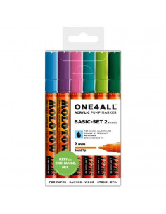 Marker acrilic Molotow ONE4ALL™ 127HS, 2 mm, portofel Basic 2 - Set 1, 6 buc.