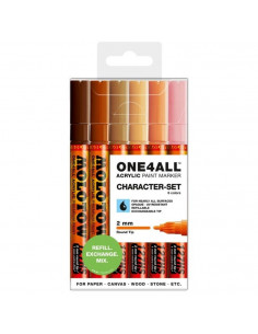 Marker acrilic Molotow ONE4ALL™ 127HS, 2 mm, portofel Character - Set 6 buc.