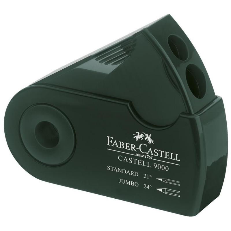 Ascutitoare Faber-Castell Plastic Dubla Sleeve Verde, Verde
