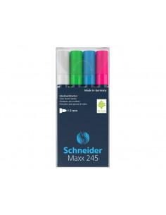 Set 1 - Marker Pentru Sticlă Schneider Maxx 245, 4 Buc/Set