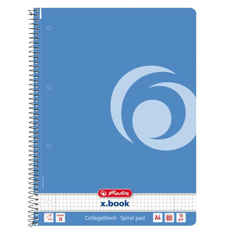 Caiet Herlitz A4 80 File Cu Spirala Patratele, Culoare Albastru