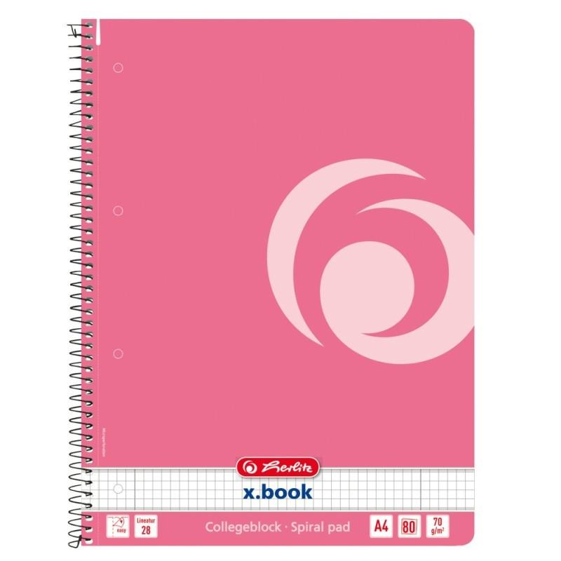 Caiet Herlitz A4 80 File Cu Spirala Patratele, Culoare Roz