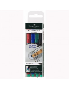 Marker Permanent Faber-Castells 0.4 mm Varf Rotund - Set 4