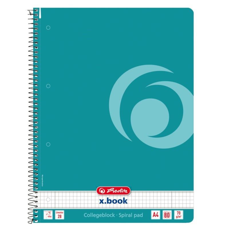 Caiet Herlitz A4 80 File Cu Spirala Patratele, Culoare Turquoise