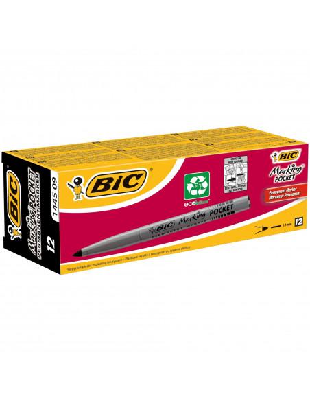 Marker permanent BIC 1445, negru, 12 buc/cutie