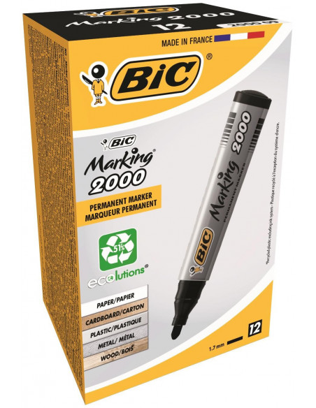 Marker permanent BIC 2000, negru, 12 buc/cutie