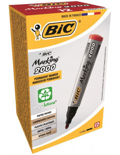 Marker permanent BIC 2000, rosu, 12 buc/cutie