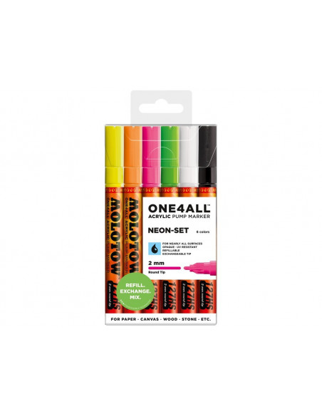 Set Markere Molotow ONE4ALL 127HS Neon-Set, 6 buc