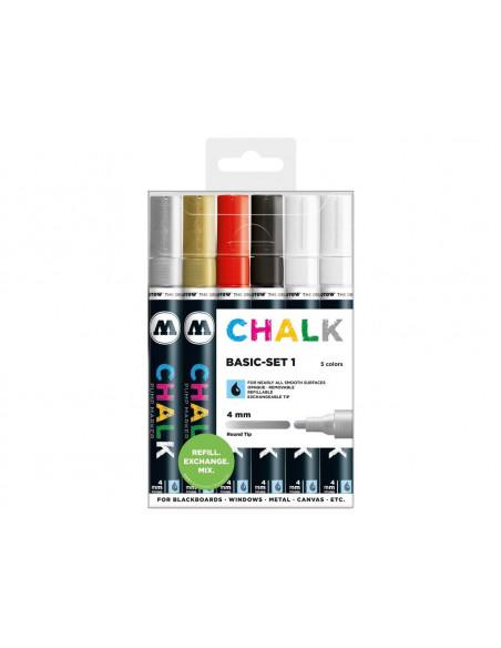 Set Molotow Chalk Marker Basic-Set 1, 4 mm, 6 buc