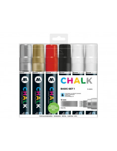 Set Molotow Chalk Marker Basic-Set 1, 15 mm, 6 buc