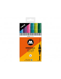 Set Molotow ONE4ALL ACRYLIC TWIN Basic-Set 2, 6 buc