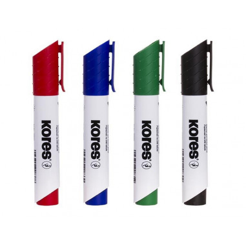 Marker Whiteboard Kores 3 mm Varf Rotund - 4 Culori