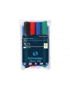 Marker Whiteboard Schneider Maxx 290 2 - 3 mm Varf Rotund - Set 4 buc