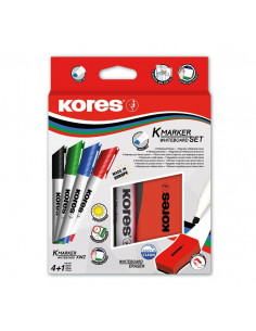 Marker Whiteboard Kores 3 mm Varf Rotund + Cu Burete Margnetic