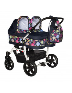 Carucior copii gemeni side by side 2 in 1, PJ STROLLER, Pink