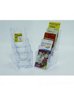 Display plastic pentru brosuri, de birou/perete, 4 x 1/3A4