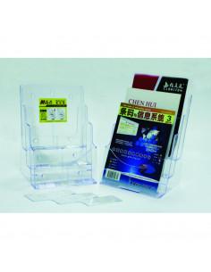 Display plastic pentru brosuri, de birou/perete, 3 x