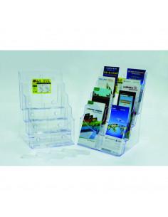 Display plastic pentru brosuri, de birou/perete, 4 x
