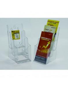 Display plastic pentru brosuri, de birou/perete, 3 x 1/3A4