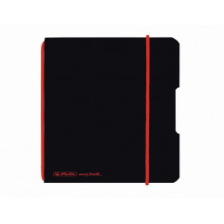 Caiet Herlitz My.Book Flex A6 40F Dictando Negru Cu Logo Rosu