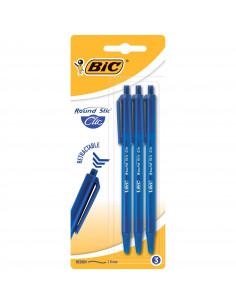 Pix BIC Round Stic Clic, 3 buc/blister, albastru