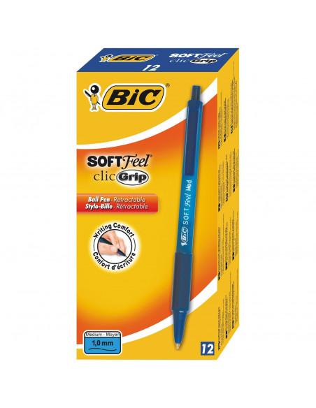 Pix BIC Soft Feel Clic Grip, 12 buc/cutie, albastru