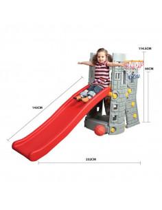 Centru de joaca 2 in 1 deluxe Castel Edu Play cu tobogan si cos