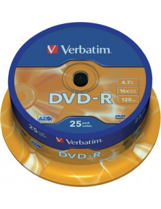 DVD-R VERBATIM 4.7GB, 120min, viteza 16x, 25 buc, Single Layer