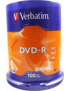 DVD-R VERBATIM 4.7GB, 120min, viteza 16x, 100 buc, Single