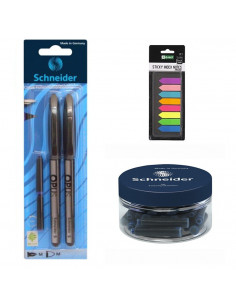 Set Stilou, Roller Negru, 30 Rezerve Schneider si Sticky Index Notes