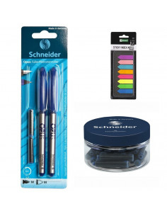 Set Stilou, Roller Albastru, 30 Rezerve Schneider si Sticky Index Notes