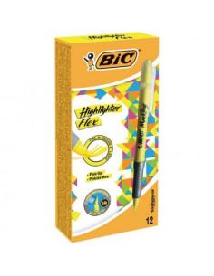 Evidentiator BIC Flex Grip, galben, 12 buc/cutie