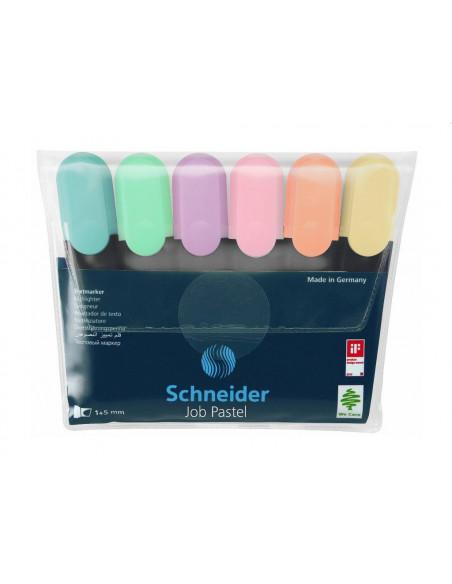 Textmarker Schneider Job Pastel, 6 Buc/Set