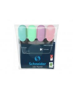Textmarker Schneider Job Pastel, 4 Buc/Set