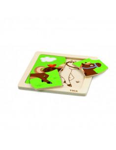 Puzzle din lemn din 4 piese mari - cal