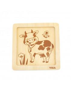 Puzzle din lemn din 4 piese mari - vaca