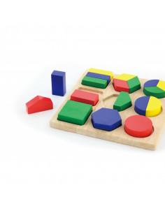 Puzzle sortator cu forme geometrice si fractii