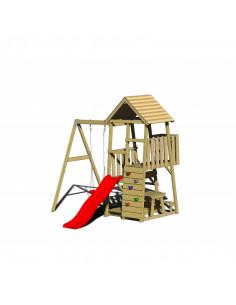 Turn de joaca cu 2 platforme, panou de catarare, tobogan