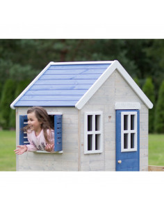 Casuta de gradina My Blue Cottage House cu platforma si tobogan