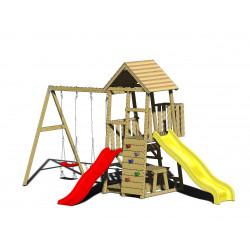 Turn de joaca cu 2 platforme, panou de catarare, 2 tobogane, 2 leagane, masuta de picnic cu bancute si lada de nisip