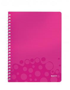 Caiet de birou LEITZ Wow, PP, A4, cu spira, matematica, roz
