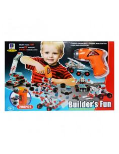 Joc Constructii Metal + Bormasina Cu Baterii, 280 Piese