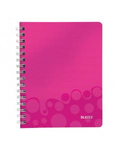 Caiet de birou LEITZ Wow, PP, A5, cu spira, matematica, roz metalizat