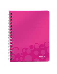 Caiet de birou LEITZ Wow, PP, A5, cu spira, matematica, roz