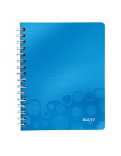Caiet de birou LEITZ Wow, PP, A5, cu spira, matematica  albastru metalizat