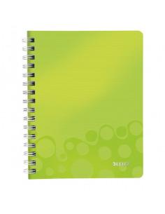 Caiet de birou LEITZ Wow, PP, A5, cu spira, matematica, verde metalizat